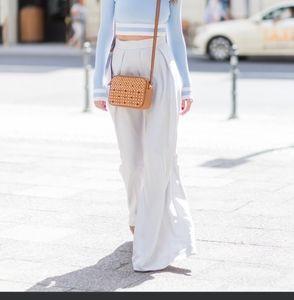 Club Monaco s6 white w blue stripes wide leg pants